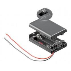 3X AAA batterijhouder Box, met deksel en schakelaar(aan/uit)