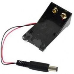 9V Blokbatterij houder, open met DC stekker