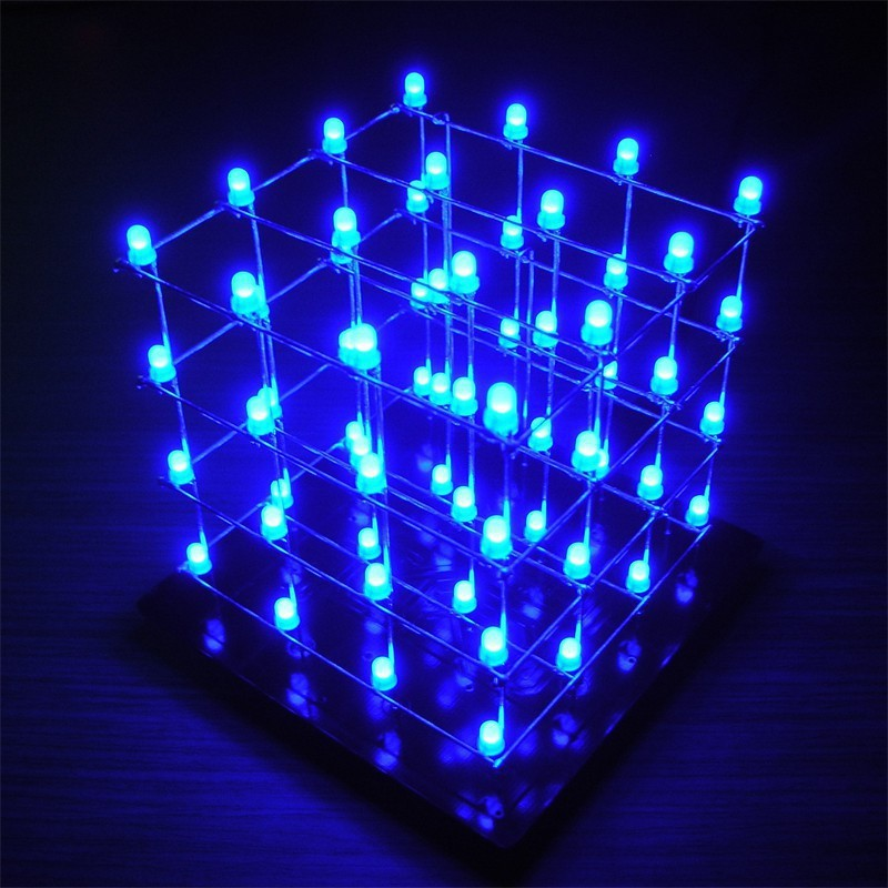DIY LED Cube 4x4x4 Blue (Shield)