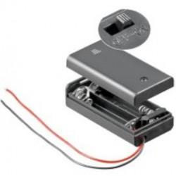 2X AA batterijhouder Box, met deksel en schakelaar(aan/uit)