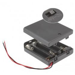 4X AA batterijhouder Box, met deksel en schakelaar(aan/uit)
