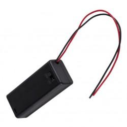 2X AAA batterijhouder Box, met deksel en schakelaar(aan/uit)