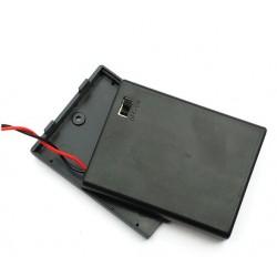 4X AAA batterijhouder Box, met deksel en schakelaar(aan/uit)