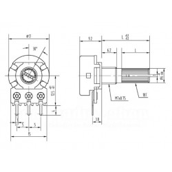 20k Ohm Potentiometer 15mm